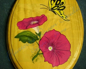 Butterfly Glory painted wooden plaque, pink morning glories, flowers, black and yellow butterfly