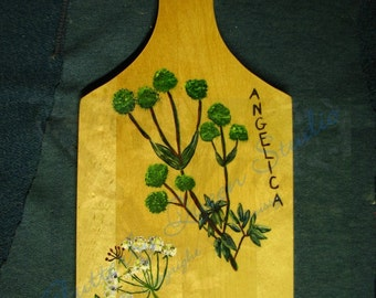 Herbal Cutting Board painted decorative