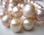 Large Pink Freshwater Baroque Pearls, Full Strand