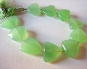 Lime Green Chalcedony Smooth Triangle Beads, Full Strand