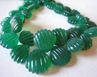 Green Onyx Carved Shell Scalloped Heart Briolettes, Half Strand