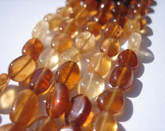 Hessonite Garnet  Shaded Smooth Polished Oval, 1/2 Strand