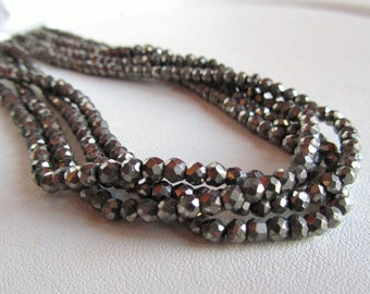 Pyrite Faceted Rounds, Half Strand