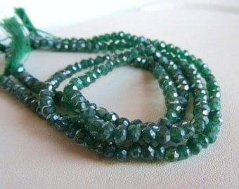 Mystic Green Onyx Faceted Rondelles, Half Strand