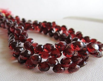 Garnet Faceted Candy Kiss Onion Briolette Beads, Half Strand
