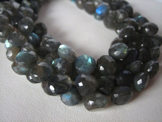 Colorful Labradorite Faceted Candy Kiss Onion Briolettes 8-9mm, Half Strand