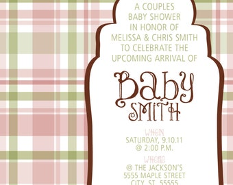 Plaid Baby Shower Invitation GIRL print your own
