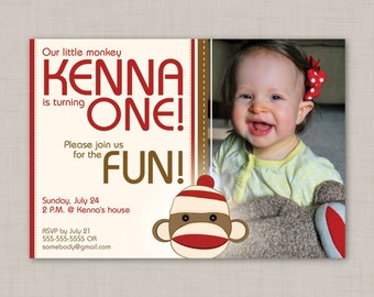 Sock Monkey birthday invitation (1) -- Print Your Own