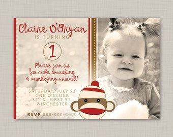 Sock Monkey birthday invitation (2) -- Print Your Own