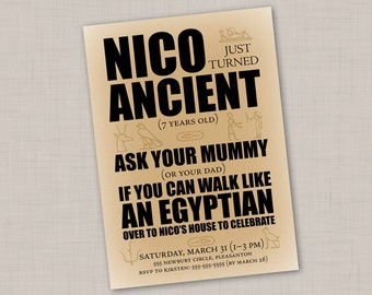 Ancient Egypt kids' birthday invitation -- Print Your Own