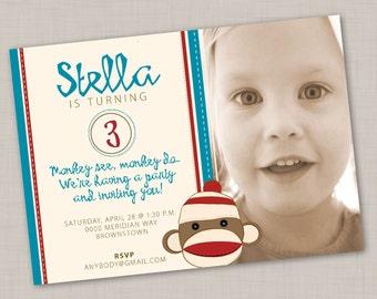Sock Monkey birthday invitation (TEAL) -- Print Your Own
