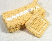 2 Yellow Buttercup Cotton Wash Cloths -FREE Scrubby