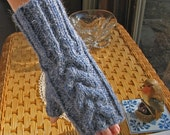Indigo Blue Fingerless Texting Gloves - ALPACA Blend - Chunky Cable - Hand Knit - Very Soft