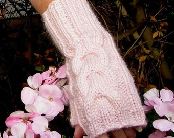 Pink Fingerless Texting Gloves - ALPACA Blend - Chunky Cable - Hand Knit - Very Soft - Matching Beanie Hat Available Separately