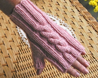 PRETTY PINK Cable Fingerless Texting Gloves, Easy Care