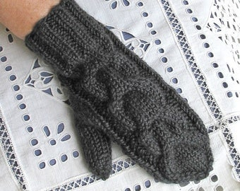 Charcoal Gray Mittens - Dark Grey Heather, Almost Black - Will fit Women or Teens
