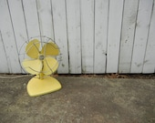 Vintage Pale Yellow And Chrome Metal Fan