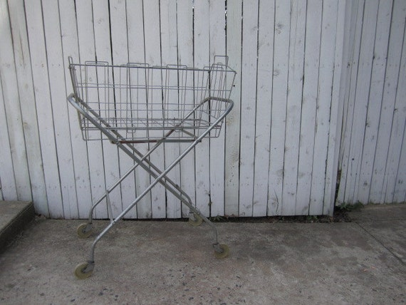 Vintage 1940s Metal Rolling Laundry Cart