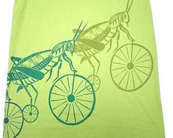 Grasshopper on bicylce wrap around design t shirt
