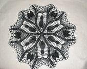 Halloween Black Cat Hand Crocheted Doily