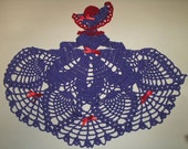 Red Hat Society Crinoline Lady Doily  - Hand Crocheted