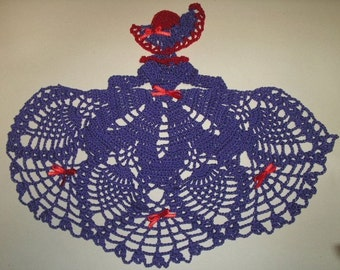 Red Hat Society Crinoline Lady Doily  - Hand Crocheted