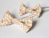 Fabric Calico Bowtie Necklace