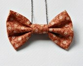 Fabric Bow Tie Necklace Calico Print