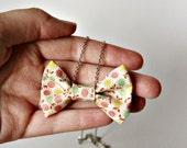 Mini Fabric Bow Tie Necklace in Calico