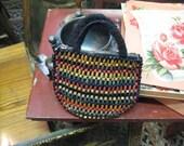 Vintage Handbag, Vintage Purse with Czech Wooden Beads, Beaded Purse, Wooden Purse