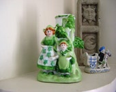 Figurine of Dutch Girls, Green Statue of Dutch Girls, Red Japan Holland Vase in Green, St. Patrick's Day, Holland Vase with Castle