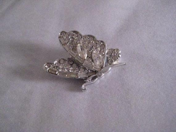 Women Jewelry Pin Brooch Vintage White Crystal Rhinestone Butterfly Pin Brooch