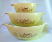 3 Vintage Pyrex Forest Mushroom Ciderella Mixing Bowls