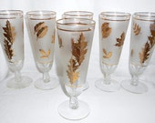6 Vintage Champagne Cocktail Glasses Libbey Gold Foliage Leaves Hollywood Regency Mad Men Style