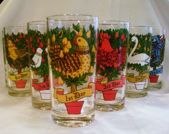 Vintage Glasses  American Glass By Indiana Glass 12 Days of Christmas Complete Set 12 oz Tumblers