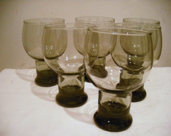 6 Vintage  Hollywood Regency Drinking Glasses  Gray Roly Poly Goblets