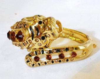 Vintage  Bracelet Rhinestone and Enamel Gold Tone Bangle  Clamper  Leopard Tiger Modern Design