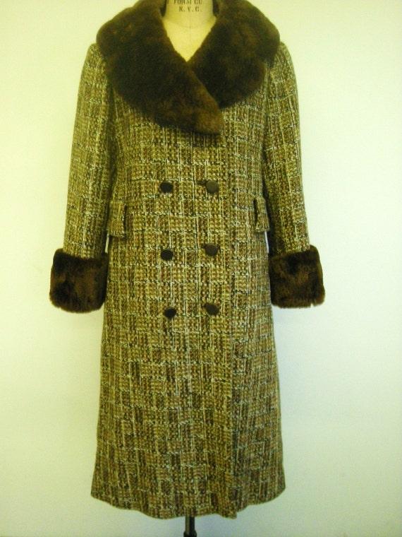 Womens Vintage 1960s Brown Plaid Tweed Coat By Trixzstreasures
