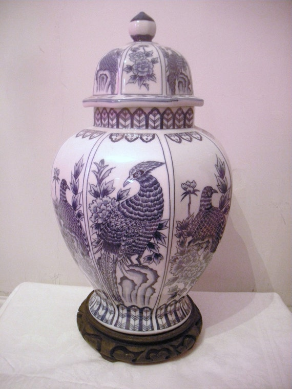 Vintage  Hollywood Regency Blue and White Ginger Jar Birds and Flowers with Wood Stand