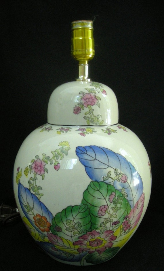 Vintage Chinoiserie Lamp Ginger Jar Tobacco Leaf And Floral