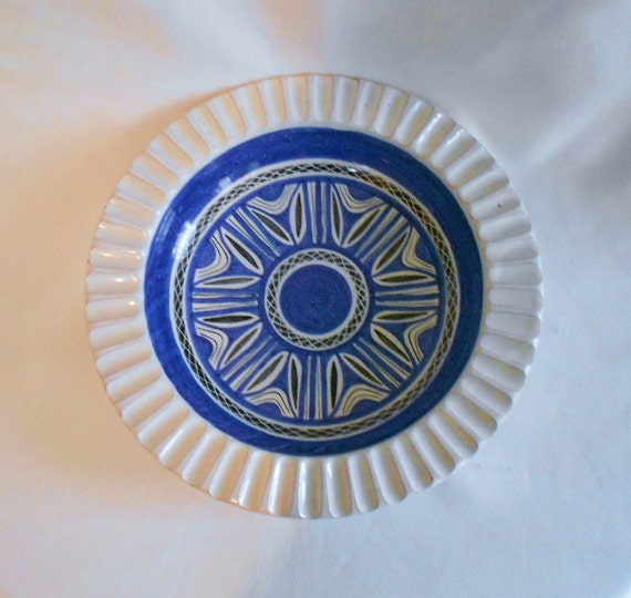 Vintage Danish Modern Bowl or Ashtray Norway Scandanavian Abstract Blue Black and White