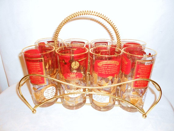 Vintage Hollywood Regency Cocktail  Glasses UNUSED  Set of 8 with Brass Carrier Red White and Gold Recipe Designs