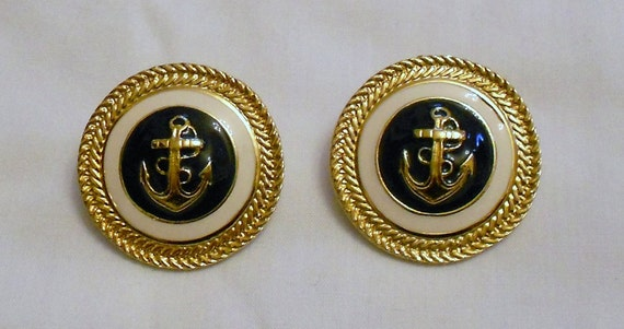 Vintage  Earrings Navy  Blue  and Ivory Enamel and  Goldtone Nautical  Style Anchor and Rope Chanel Style