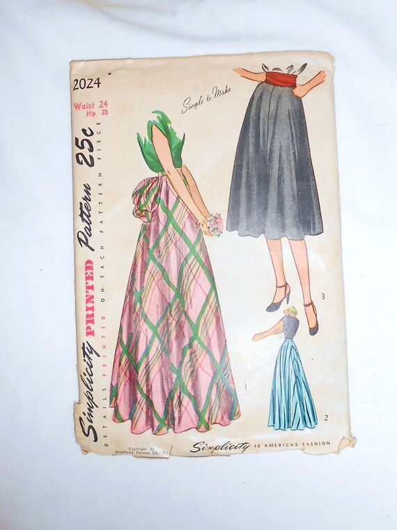 Womens  Vintage 1950s Simplicity  Skirt Pattern waist size 24 inches  style 2024 Uncut CIRCLE SKIRT