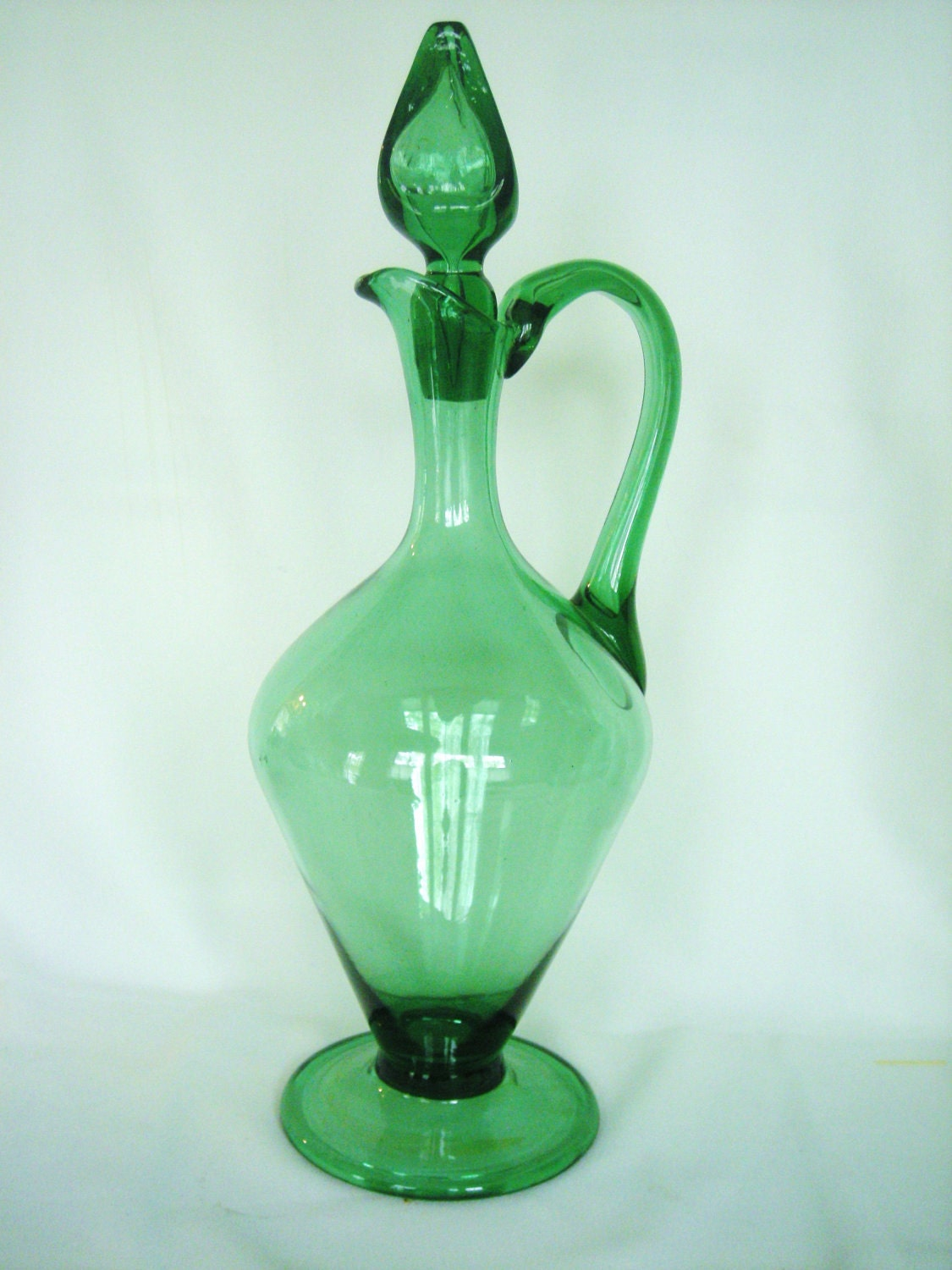Vintage hand blown green glass wine decanter for What is wine decanter