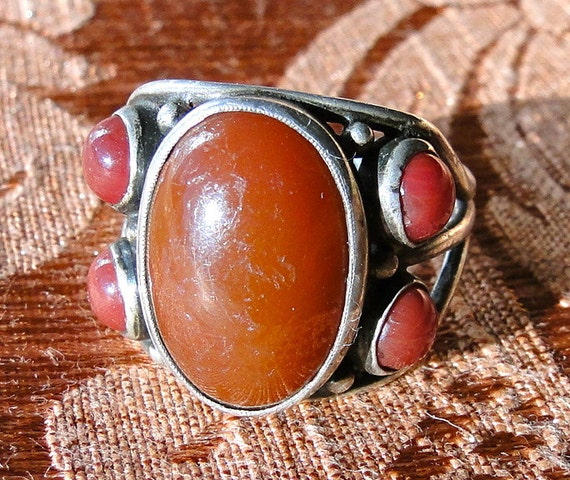 Vintage Sterling and Coral Stone Ring