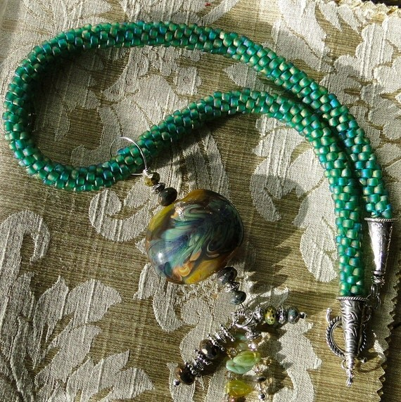 SALE Hand Woven Glass Beaded Necklace Featuring a Lampworked Focal Bead - SALE