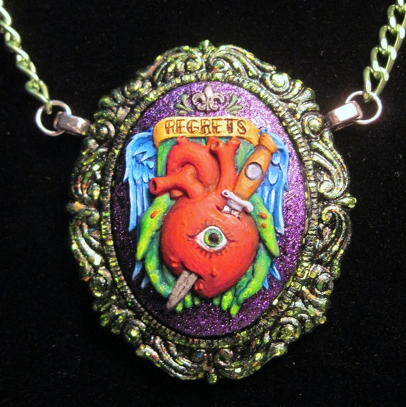 Regrets tattoo Hand Painted Cameo pendant necklace