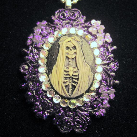reserved Day of the Dead glitter resin framed pendant with rhinestones