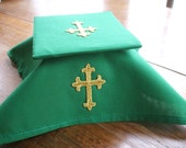 liturgical green child sized burse and veil to use with white kit of altar cloths